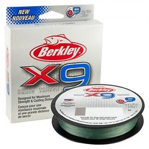 Плетеный шнур Berkley X9 Braid Fluro Green 300m 0.25mm 27kg